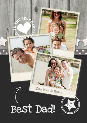 Vervang de foto's in de polaroids en maak zo gemakkelijk deze originele en persoonlijke Vaderdag kaart! De tekst is aanpasbaar. Te vinden op: https://www.kaartje2go.nl/vaderdag-kaarten/vaderdag-fotocollage-hout-grijs