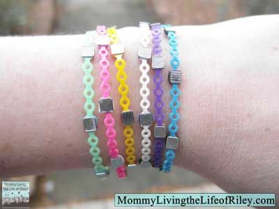 Bracelets made from orthodontic rubber bands and brackets!