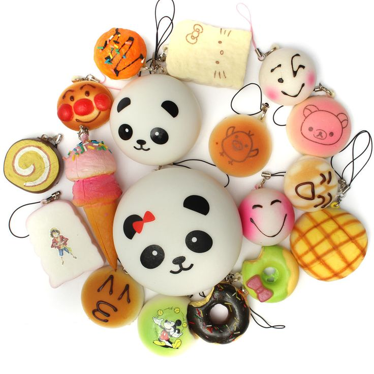 18PCS Random Soft Kawaii Squishy Bread Keychain Charm Strap Panda Toasts Donuts in Mobile Phones & Communication, Mobile Phone & PDA Accessories, Straps & Charms | eBay