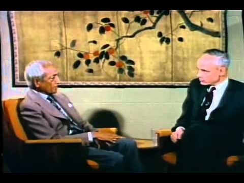 """Jiddu Krishnamurti with Huston Smith 1968. In this video Huston was struggling to impose his """"beliefs"""" as being the truth. But Krishnamurti always remains with the facts. Facts are not man-made. Whereas, beliefs/ideals are. You can say a lie very forcefully, but at the end of the day it is still false. The false can never be anything other than false. No amount of insisting can ever change that. This world will perish if we keep trying to bring peace through conflict, which is our beliefs."""