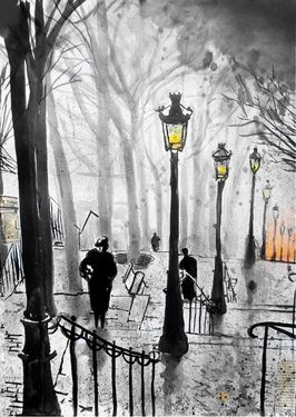 Saatchi Online Artist Loui Jover; Drawing, montmartre stairs #art ♡