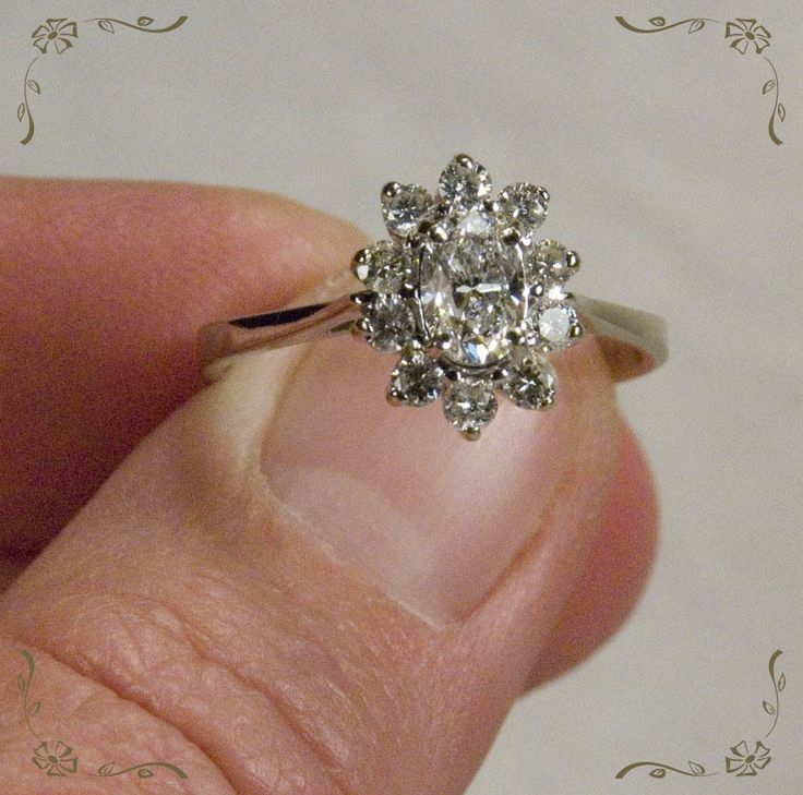 Magnificent Vintage Oval Diamond Flower 14k White Gold Engagement Ring