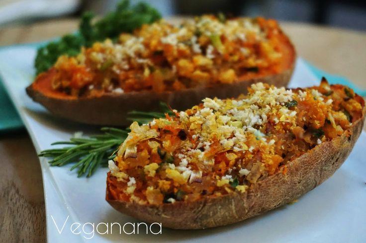 Batata Doce Recheada - Veganana