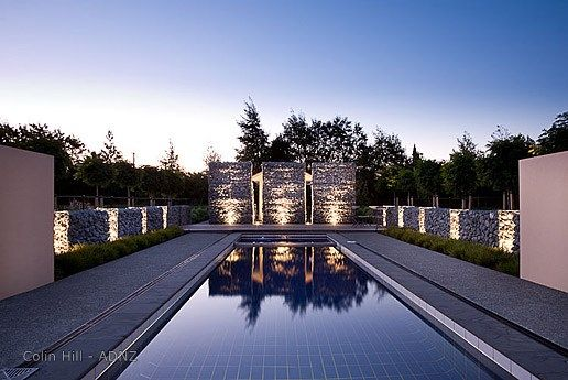 Stunning lap pool.  House designer Colin Hill. #adnz #pool #stone