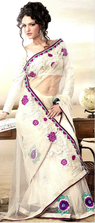 Off #White Net #Saree With #Blouse @ $61.09 | Shop Here: http://www.utsavfashion.com/store/sarees-large.aspx?icode=sga1854