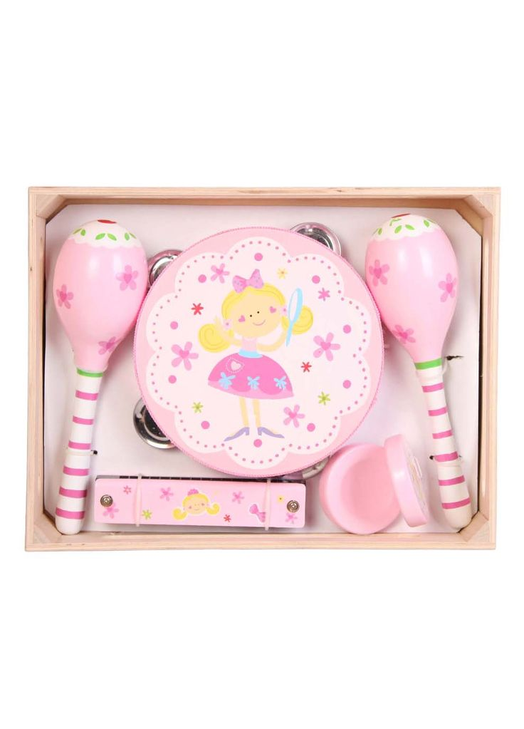 Fairy Music Set This adorable musical set will delight any little girl with its beautiful pink fairy design. Easy to grasp and fun to play with. Assists children with acquainting with various kinds of sound.