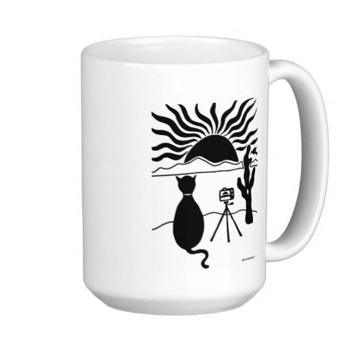 Cat Photographer Southwest Coffee Mugs - I created this image for a very dear friend, and it remains one of my favorite ink designs.