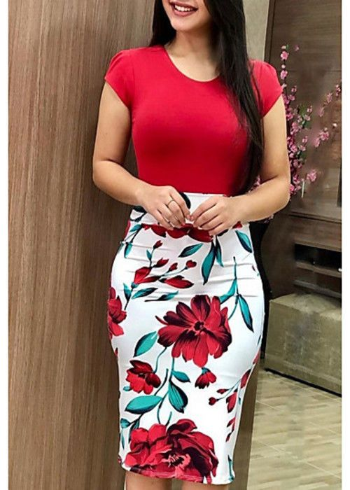8022116b93 Women s Plus Size Going Out Work Sexy Slim Bodycon Dress - Striped Floral  Rose  Unbranded  BodyconDress  Casual