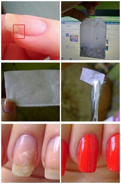 Nail hacks part 1: Repair any broken nail with a piece of a teabag. Attach it to the nail and seal it with a topcoat. Add two layers of color on top to camouflage repair.