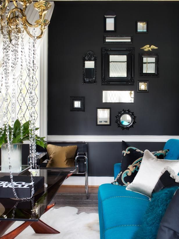 glamorous living room mixes it up on hgtv - Black Living Room Decor