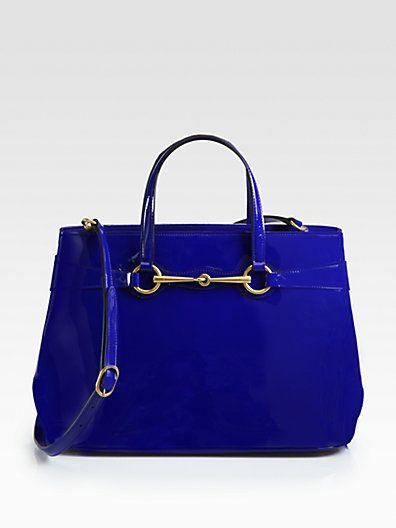 #Gucci Bright Bit Medium Patent Leather Tote #Saks.com