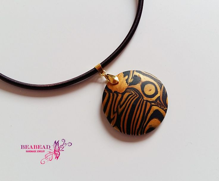 Polymer clay pendant, Polymer clay jewelry, polymer clay necklace, handmade jewelry with tiger pattern by Beabead on Etsy