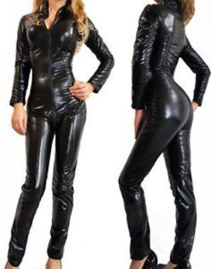 PVC Catsuit Faux Leather Dress Spandex Vinyl Lingerie Bodysuit Jumpsuit Clubwear   eBay