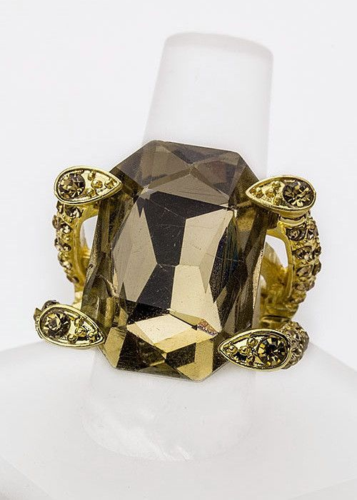 Cocktail Crystal Stretch Ring (Topaz)