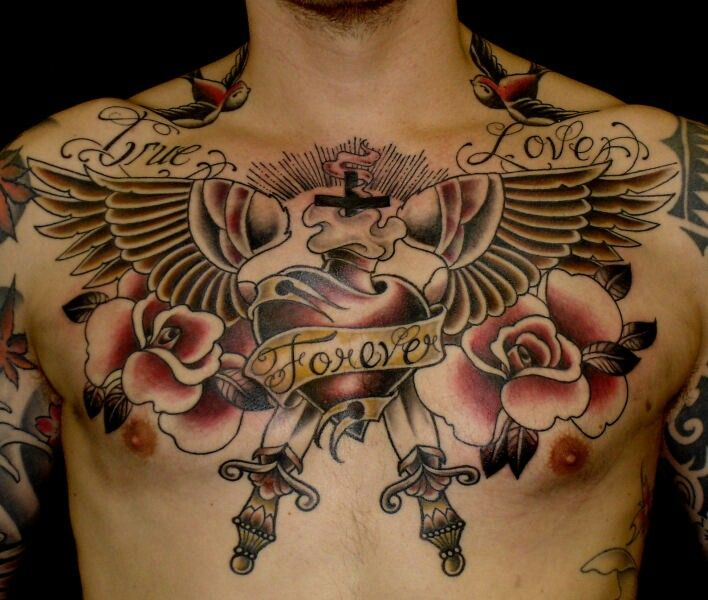 Heart With Wings Chest Piece
