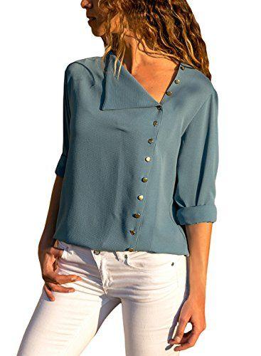 0ece0d82fba8a7 Women Casual Long Sleeve Side Buttons Shirt Chiffon Blouse Turndown Collar  Solid Tops