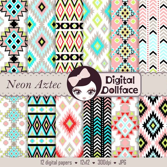 Hey, I found this really awesome Etsy listing at https://www.etsy.com/listing/161409987/neon-aztec-digital-paper-geometric-ikat