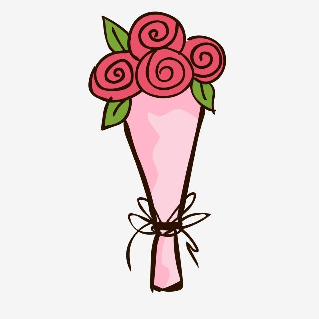 Plant Cartoon Bouquet Hand Drawn Flower Cute Cartoon Rose Bouquet Material Rose Hand Painted Flower Flower Vect Hand Drawn Flowers Cartoon Rose Flower Painting