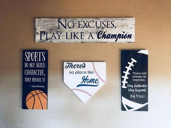 Sports Room Decor Sports Gallery Wall Decor Baseball Sign Basketball Sign Football Sign No Excuses Pl Sports Room Boys Sports Room Decor Sports Wall Decor