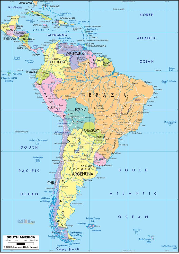 Political Map of South America.  Mexico, Bahamas, Guatemala, Jamaica, Costa Rica, Dominican Republic, El Salvador, Belize, Cuba, Panama, Honduras, Haiti, Nicaragua, Brazil, Peru, Colombia, Paraguay, Uruguay, Ecuador, Venezuela, French Guiana, Guyana, Suriname, Chile, Argentina, Bolivia