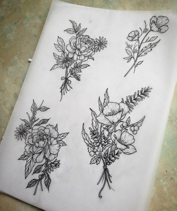Flower bouquet, tattoo designs shoulder