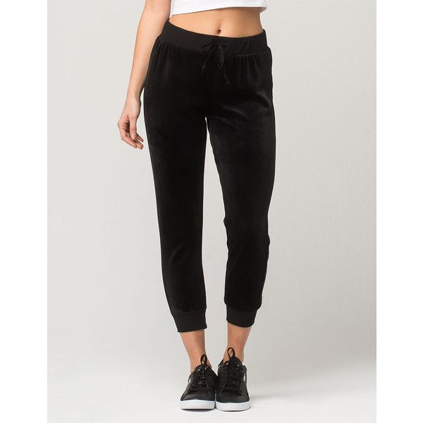 Socialite Velour Crop Womens Jogger Pants ($10) ❤ liked on Polyvore featuring pants, capris, jogging trousers, cuffed cropped pants, cuffed pants, velour pants and cuffed jogger pants