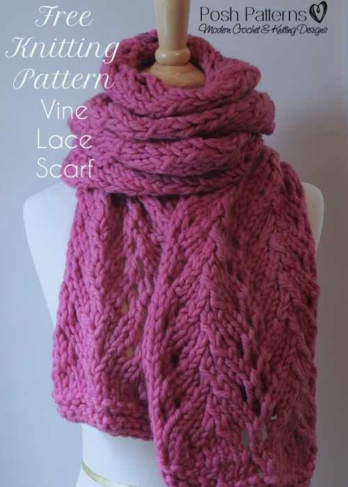 Knit Lace Stitch Scarf : 133 best Posh Patterns Blog images on Pinterest Knitting patterns, Free cro...
