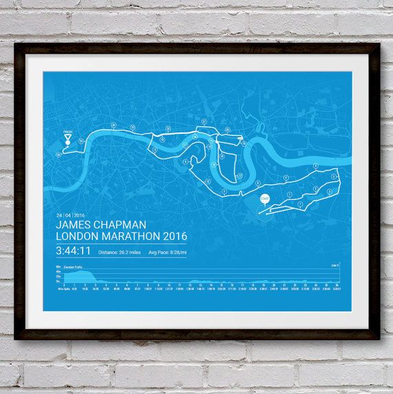 Personalised LONDON Marathon Poster / Memento / by Sleepydogdesign
