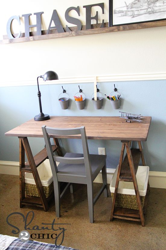 DIY Restoration Hardware Desk - $50  // If we each had one of these (cheap) and the seating were in the middle?