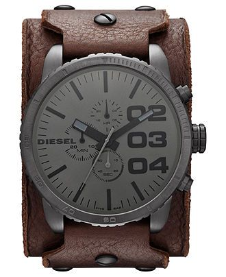 Diesel Watch, Men's Chronograph Brown Leather Cuff Strap 51mm DZ4273 - All Watches - Jewelry & Watches - Macy's