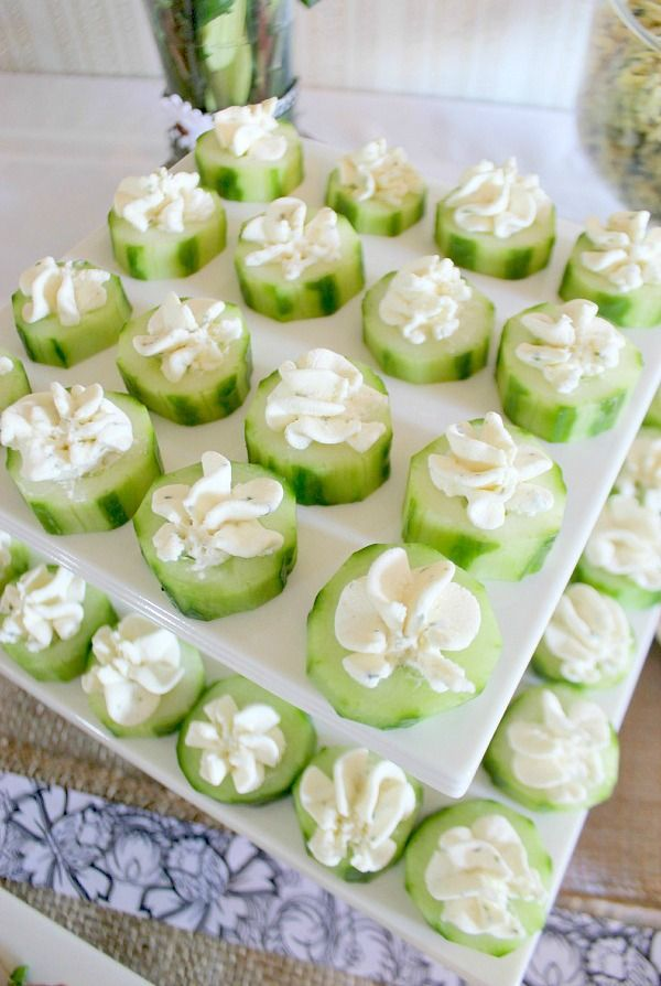Baby shower menu, including Herbed Cream Cheese Cucumber Rounds and Curried Rice Pilaf. #babyshower #appetizers #partyfood