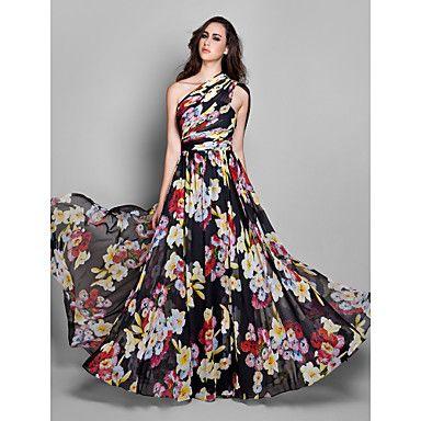 Платье-футляр вечернее из шифона на одно плечо длиной до пола, цветочный принт, силуэт колонна – USD $ 129.99