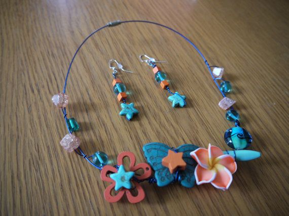 Necklace and earrings Orange Flowers. by CreationsBella on Etsy, $34.00