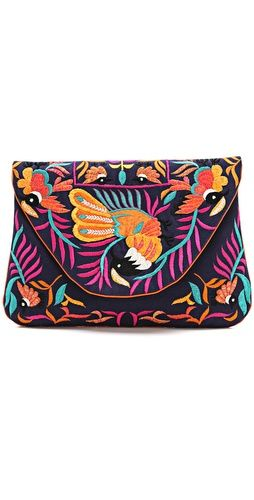 Large Bird Embroidered Clutch