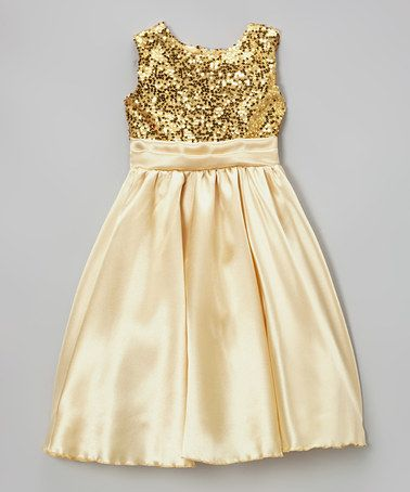 Take a look at this Gold Sequin Satin Dress - Infant, Toddler & Girls by Kid Fashion on #zulily today!