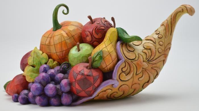 Jim Shore Resin Figurine - Horn Of Plenty Harvest Cornucopia
