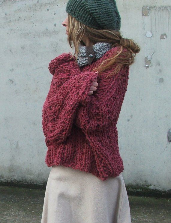 Custom Order For Lara Dusky Redish Pink Chunky Sweater Chunky Sweater 2 Left In This Shade Grob Strickjacken Pullover Und Altrosa