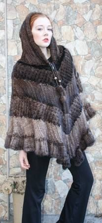 Knit Mink Fur Poncho Mahogany Demi Pastel 22277 Image   Men's Fur ...