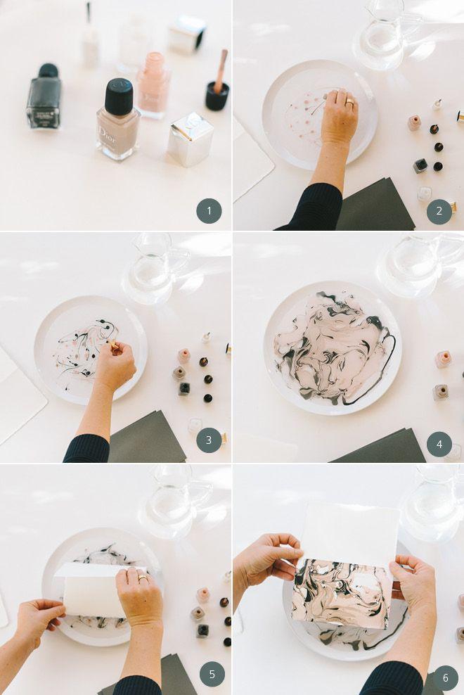 DIY Geschenk: Marmorierte Grußkarten – DIY Wedding