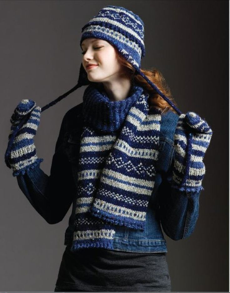 Fair Isle Scarf,Hat & Mittens in Tahki Yarns Donegal Tweed. Discover more Patterns by Tahki Yarns at LoveKnitting. The world's largest range of knitting supplies - we stock patterns, yarn, needles and books from all of your favourite brands.
