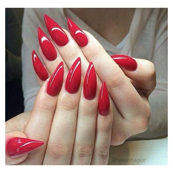 Red stiletto nails ❤ liked on Polyvore featuring beauty products and nail care