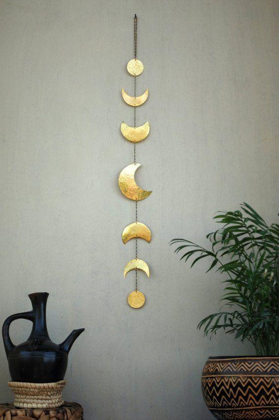 Mond Phasen Wand Dekor Mond Wandbehang Messing – Mond-Wand-Kunst – Halbmond Mobile – Mond-Kind – Lunar