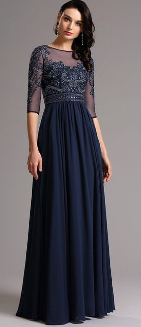 Half Sleeves Navy Blue Evening Dress