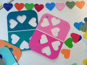 heart-shaped hole-punch + paint chips = hearts for decorating (think garlands, glue projects, etc.) + stencils: Paint Chips, Chips Garlands, Chips Valentines, Crafts Kids, Kids Crafts, Valentines Day Crafts, Crafts Blog, Paintings Samples, Paintings Chips