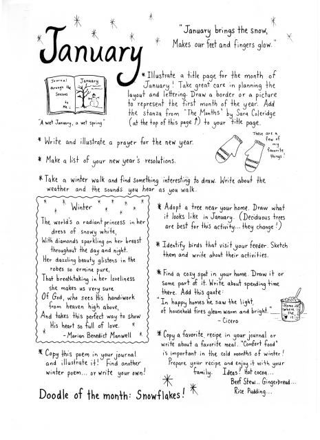 Site is Thistle Dew's Art Blog - She made doodles of all the months with ideas of things to do. This is a great idea for scrapbooking/journaling.