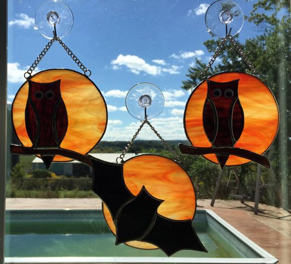 Handmade Stained Glass Full Moon with Owl or Bat van QTSG op Etsy