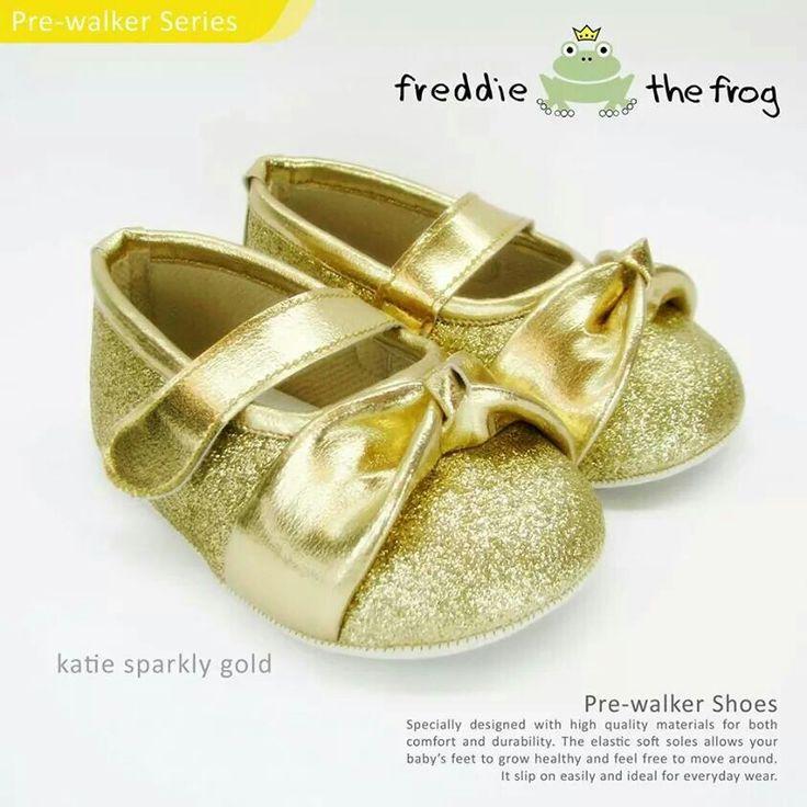 #Sepatu freddie the frog (Katie gold) ~ 90ribu. Ukuran Sol : No. 3 = 11 cm (untuk umur sekitar 0-6 bulan-) No. 4 = 11.5 cm (Sekitar 6-9bulan-) No. 5 = 12 cm (Sekitar 9bln-1 tahun-)