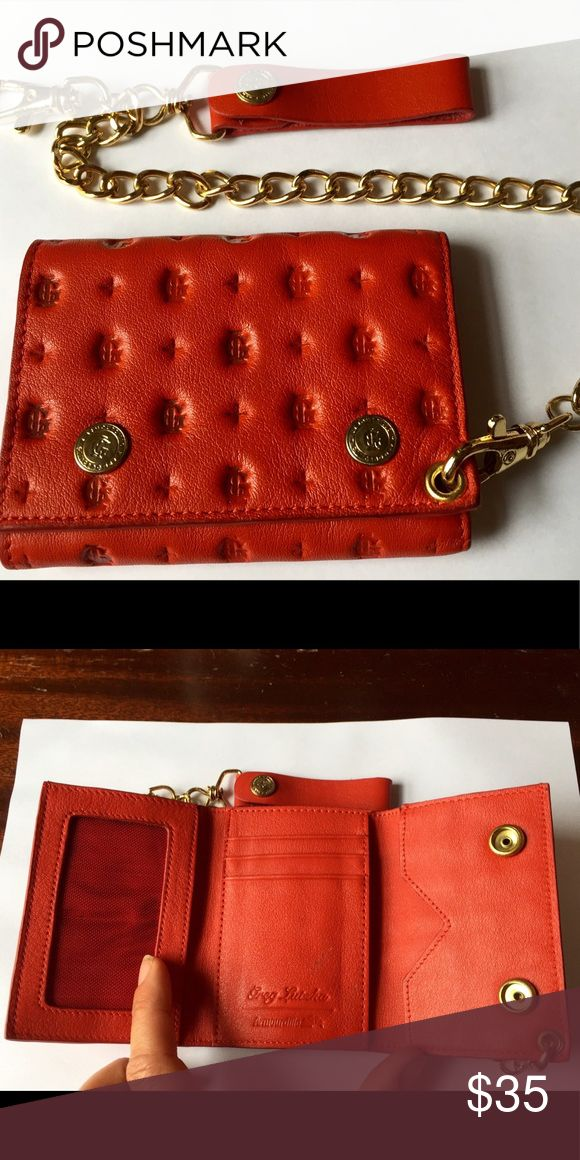 🔥Greg Lutzka skater wallet Greg Lutzka leather monogram skater wallet in cherry red, gently used. Awesome wallet with nice chain that can be detached or clipped on belt loop. Bags Wallets