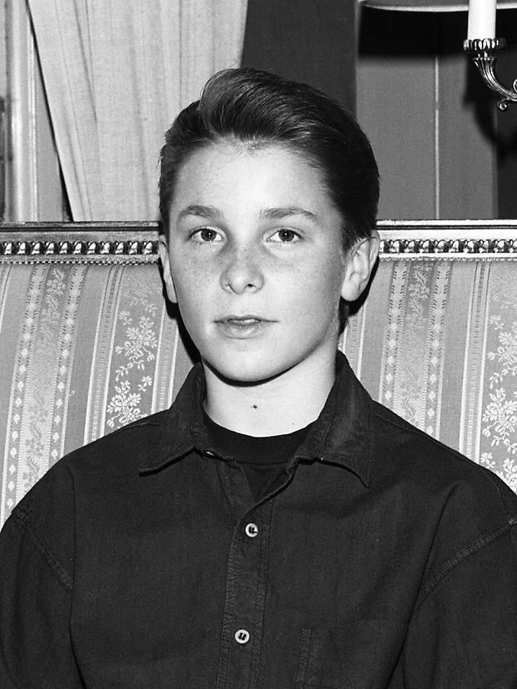 A 14-year-old Bale in Stockholm, Sweden in February 1988 while promoting Empire of the Sun