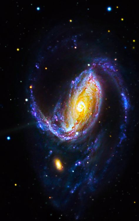 NGC 1097 is a barred spiral galaxy about 45 mly away in the constellation Fornax. It was discovered by Herschel on 10/09/1790. NGC 1097 is also a Seyfert galaxy.